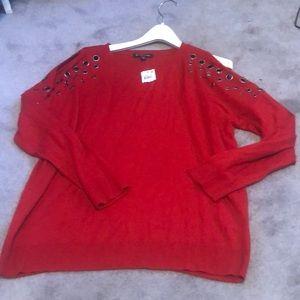 I.N.C women's red shoulder detailed sweater ❤️